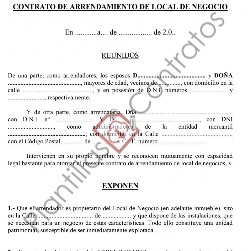 Contrato De Arrendamiento De Local Negocio